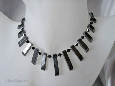 Hematite Cleopatra Necklace With Swarovski Crystals & Sterling Silver